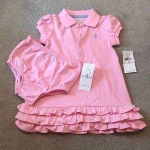 NWT Ralph Lauren Pink Cotton Baby Dress & Bloomers